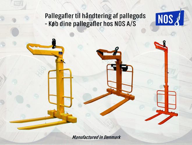 Pallegafler\nHåndtering af pallegods\npallegaffel til kran\npallegaffel til truck\nNOS A/S\n