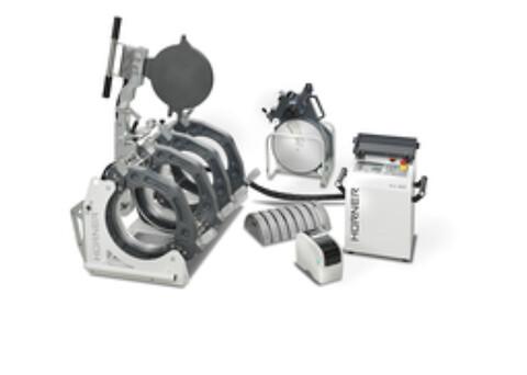 Hürner WhiteLine Manuell Hydraulisk Speilsveismaskin - Bildet viser komplett 315-maskin med CNC Eco styringsenhet, og termoskriver (tilvalg)