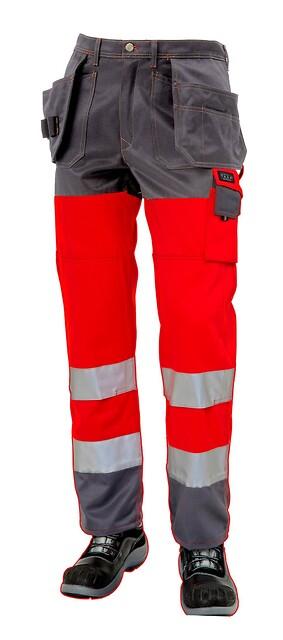 Arbejdsbukser, hi-vis, kl. 2, 11100 - rød/grå