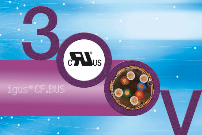The new 300V UL voltage class of chainflex bus cables provides design freedom in the assignment of the energy chain and saves costs. (Source: igus GmbH)
