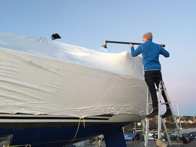 Krympeplast på båd