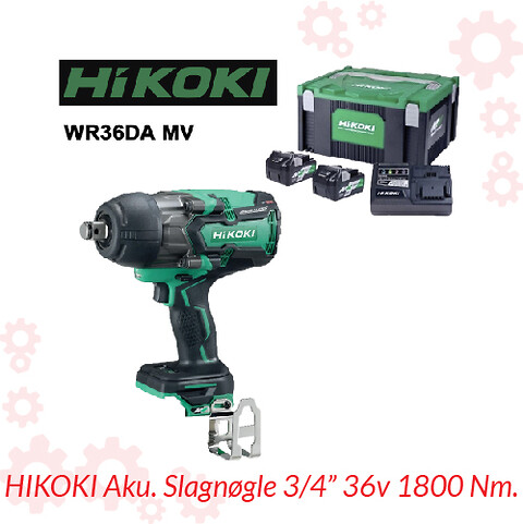 HIKOKI Aku. Slagnøgle 3/4″ 36v 1800 Nm.