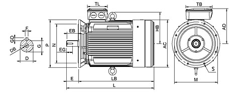 Ie3 ElektromotorHMC3 355M 4p B5 IE3