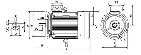 Ie3 ElektromotorHMC3 315L2 4p B5 IE3