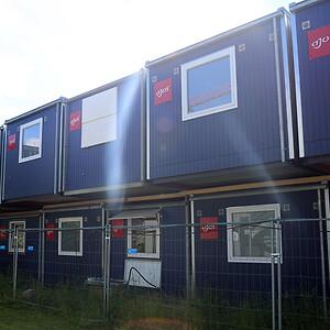 Skurby på byggepladsen ved Nyt Hospital Hvidovre