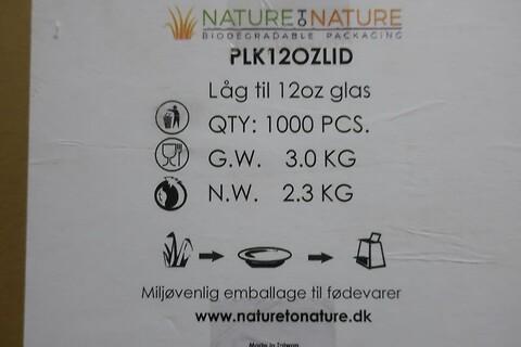 23000 stk. låg til 12oz glas nature to nature PLK12OZLID