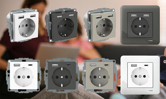 Schneider Electric kommer med nye Exxact Schuko-stikkontakter med to USB-uttak.