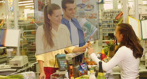 Hygienskydds Panel för att skydda personal i kontakt med kunder