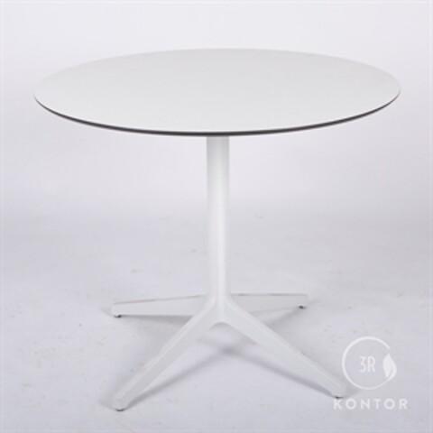 Kantinebord, hvid top og hvid søjle. Ø89