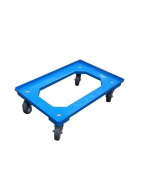 Traller 610x410mm m/4 drejestålgf-gumhj. -blå