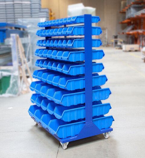 Transportabel boltreol inkl. 126 stk. plastkasser