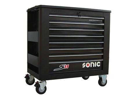 SONIC værkstedsvogn S11 med 7 skuffer inkl. 485 stk. værktøj  - SONIC, værkstedsvogn, S11, værktøj, skuffer, papirholder, dåseholder, nøgle, hjul, gummihjul,