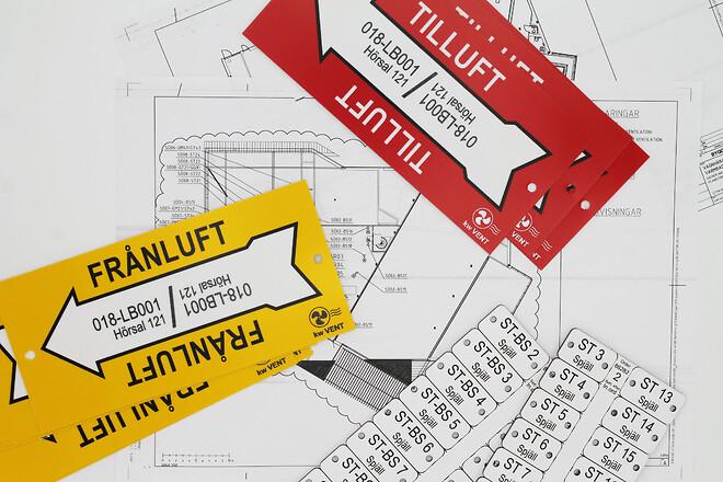 Ventilationsmärkning, ventilationsskylt, ventilationsklistermärke, flow-code