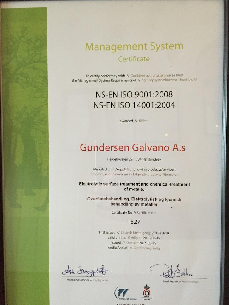 Gundersen Galvano As Er Iso Sertifisert Metal Supply No