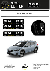 Subaru XV Dragkrok Dansk anhængertræk GDW