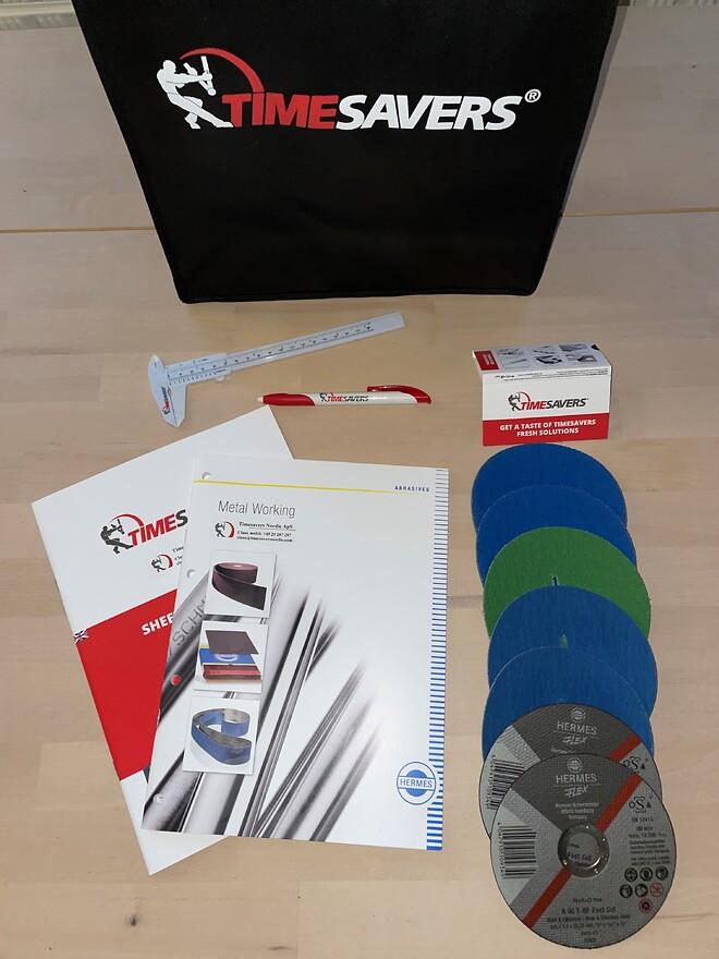 Varerprøver og demovarer fra Timesavers Nordic, fiber disc og skæreskiver.