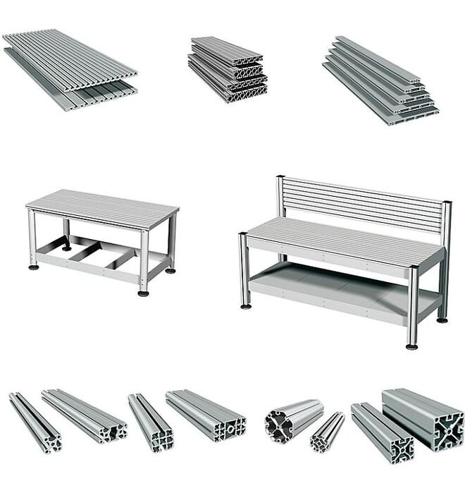 Aluminiumprofiler för konstruktion av arbetsbord, stativ, skyddshuv, ljudhuv, fixtur och mycket mer.