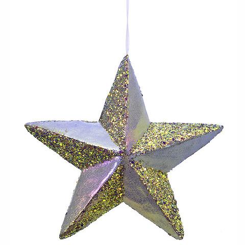 Stjerne i hård skum m ophæng, lilla glans, 22x22cm