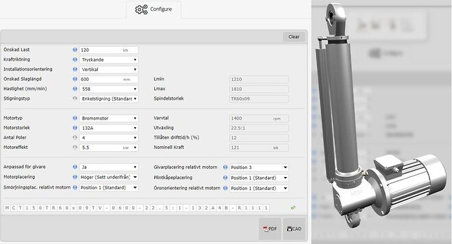 Elmekanisk Cylinder MCT150