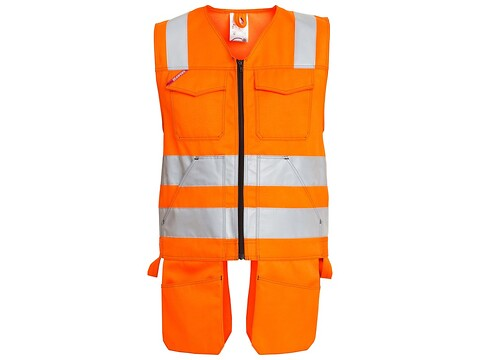 Håndværkervest safety orange - str. xl