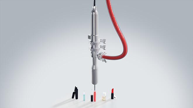 påfyldning make-up dosering maskine pumpe
