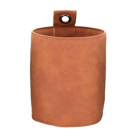 Potteskjuler i læder m øje til ophæng, Ø13,5cm, cognac