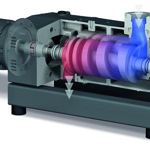 Cutaway tegning af en COBRA NX skruevakuumpumpe