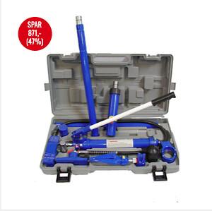 Oprettersæt 10 ton hydraulisk \n\nHydraulisk oprettersæt med trykkraft på 10 tons.\nKomplet med trykcylinder og forlænger stykker.\n