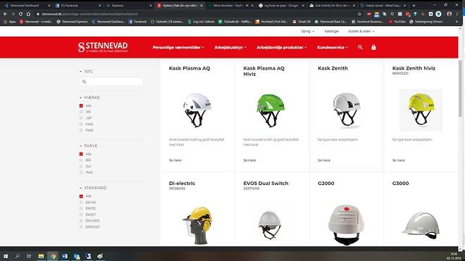 Sikkerhedshjelme hos Stennevad på ny webshop. Enkelt og overskuelig.