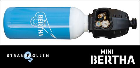 Ny lille og let gasflaske fra Strandmøllen - Mini Bertha Oxygen, 8 liter, 300 bar med KVIK TOP®