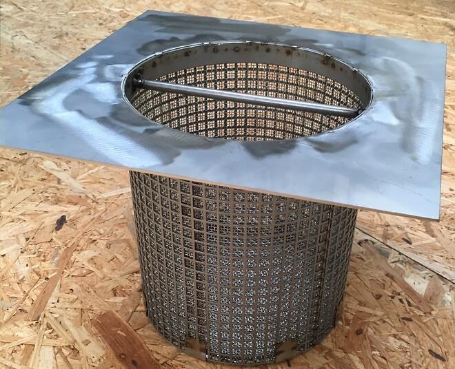 OCS filter rustfri med påsat håndtag. Tilpasset afløb.