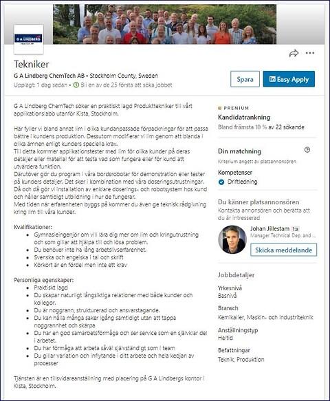 Tekniker sökes till G A Lindberg ChemTech - Kom och jobba som tekniker hos G A Lindberg ChemTech!