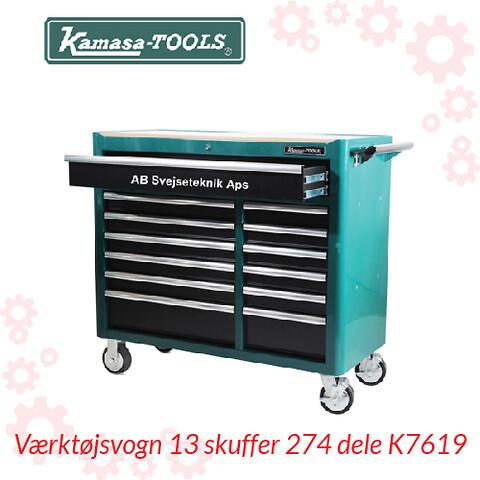 Værktøjsvogn 13 skuffer 274 dele K7619