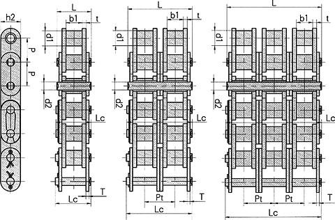 "Nullhoyer rollerchain 12B3 triplex 3/4"""