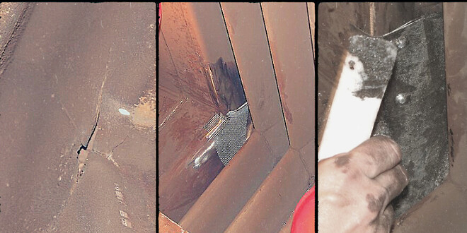 Crack in Condensator repaired with Wencon Exhaust Repair Kit