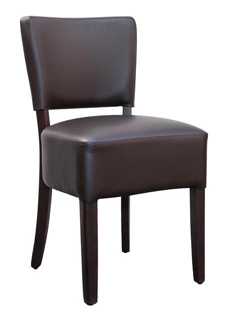 Klassisk polstret stol med læderbetræk i brun