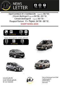 Peugeot Partner + Berlingo + Combo\naftaheligt anhængertræk