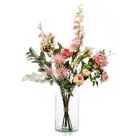 Blomsterbuket i lyserøde nuancer høj 92cm, kunstig blomst