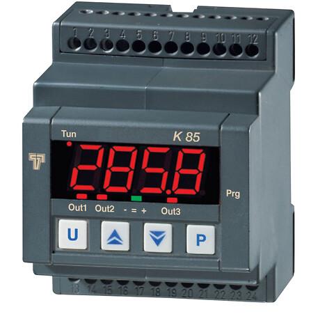 K85, 4 modul regulator, kan monteres direkte på DIN Skinne.