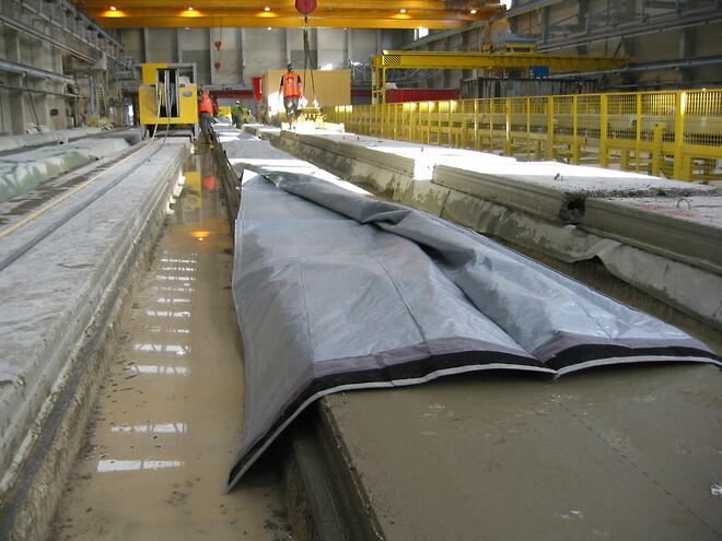 Combitherm betonmåtte i brug på elementfabrik