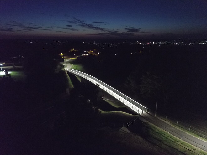 Stibro med LED lys, bro i Gullev