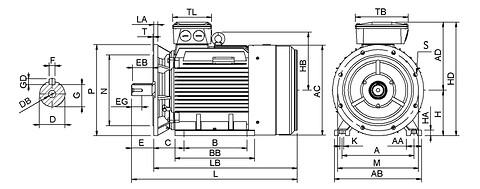 Ie3 ElektromotorHMC3 355M1 6p B35 IE3