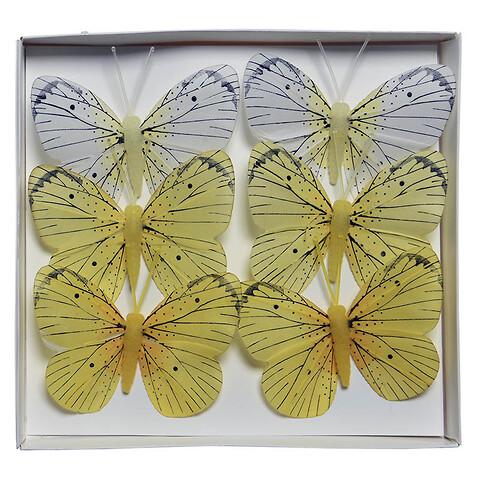 Sommerfugle i gule farver, 6 stk., 8cm, kunstig dyr