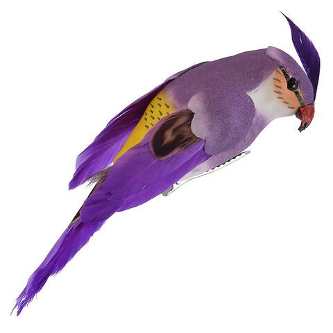 Lille Papegøje m klips, lilla,13cm