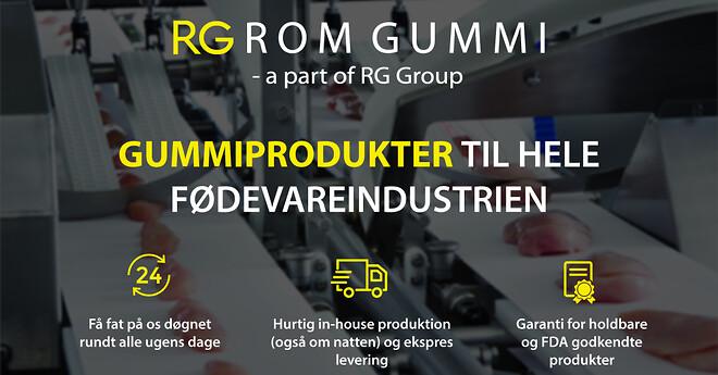 rom gummi, fødevareindustri, gummiprodukter, valser, båndpudserhjul, sugemåtte, kompensator, manchetter