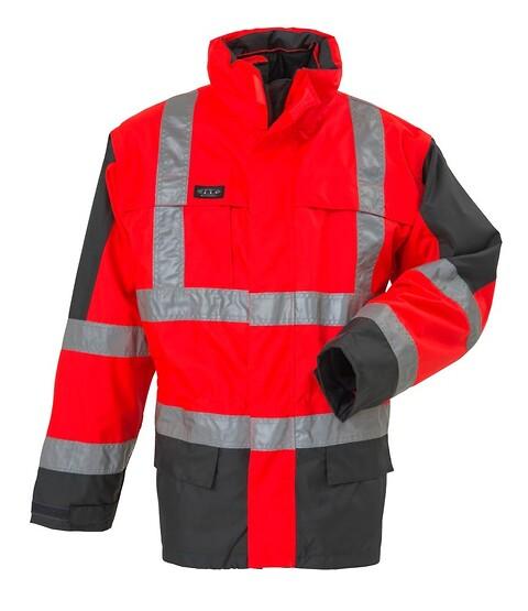 Parka, 3 i 1 jakke, hi-vis, kl. 3, 11132 - rød/grå