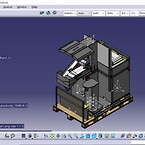 Bilden visar ett designförslag av en högvärdesutrustning vägandes ca 1200kg vilken är placerad ovanpå en Clip-Lok pall
