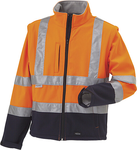Softshell, hi-vis, kl. 3, 11141 - orange/marine