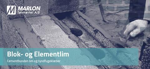 Blok- og Elementlim fra Marlon Tørmørtel A/S - Cementbunden lim og tyndfugeklæber