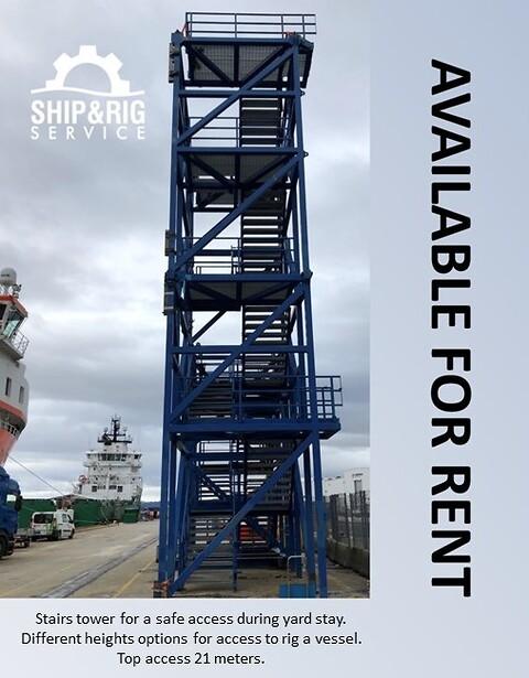 NYHET - Utleie av trappetårn - Ship and Rig Service AS - Stairtower, trappetårn, leieutstyr, rental equipment